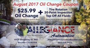 August 2017 Oil Change Coupon