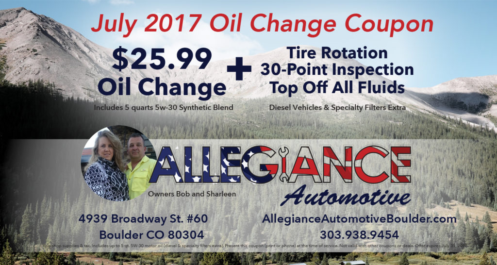 July Oil Change Coupon