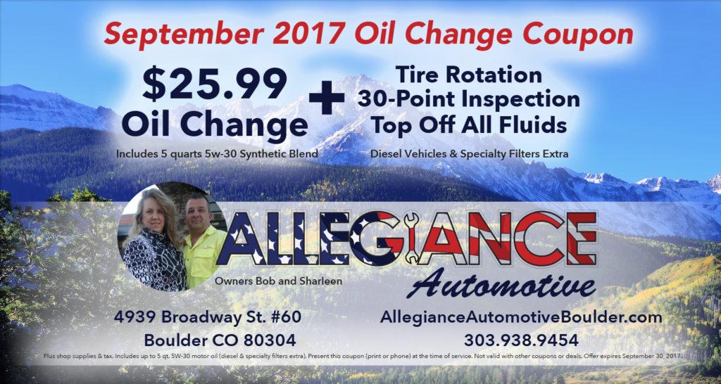 September Oil Change Coupon
