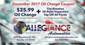 December 2017 Oil Change Coupon